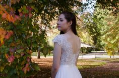 Champagne cap sleeve lace wedding dress with tulle skirts 4021