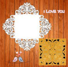 Wedding card invitation template Openwork, lace, elegant (eps, ai, svg) lasercut…