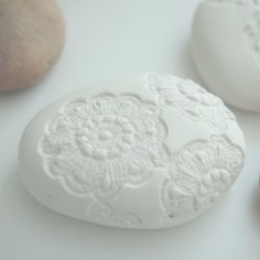 Doily on top of soap loaf for decoration?? Wonder if i could get this to work with some tatting?
