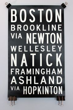 Boston via Hopkinton: Marathon Bus Roll #bostonmarathon #boston #marathon #poster #design