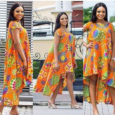 Video description of how to make a high low dress. African Print Dresses, African Print Fashion, African Fashion Dresses, African Dress, Fashion Outfits, African Outfits, African Clothes, African Attire, African Wear