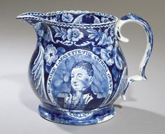 Historical Blue Staffordshire Welcome LaFayette