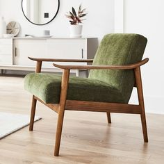 Mid-Century Show Wood Chair, Poly, Distressed Velvet, Olive, Pecan Mid Century Armchair, Mid Century Furniture, Home Furniture, Furniture Design, Modern Furniture, Wood Chair Design, Plywood Furniture, Green Accent Chair, Accent Chairs