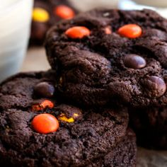 Intensely chocolatey, chewy and soft fudgy reeses pieces chocolate cookies