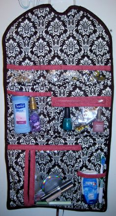 DIY TOILETRIES TRAVEL BAG. Forget the ziplock baggies - this bag is a much neater, and much prettier way to organize all your travel necessities, from jewelry, to make...