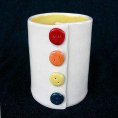 Yellow Button Handmade Ceramic Pottery Coffee Mug on Etsy, 26,56€