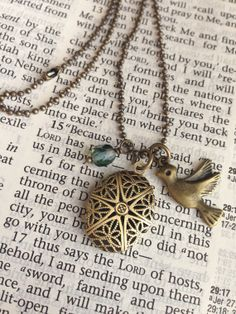 Child's Antique Gold Brass Charm Diffuser Necklace