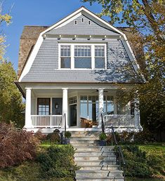 There are some types of roof that would create a traditional house style and a gambrel roof is one of them. A gambrel roof is a symmetrical two-sided roof that has two slopes on each side of the ro… Dutch Colonial Exterior, Dutch Colonial Homes, Cottage Exterior, Exterior House Colors, French Exterior, Bungalow Exterior, Stucco Exterior, Craftsman Exterior, Shingle Style Homes
