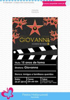 Papelier - papelaria criativa: 15 anos de fama da Giovanna - festa Hollywood