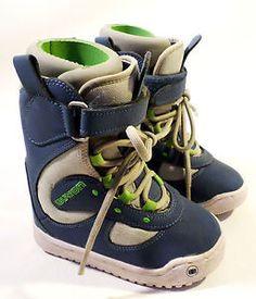 Little Kid Youth Size 12 BURTON Moto Snowboard Boots, Blue/Gray/Green