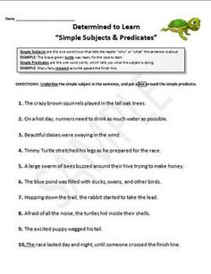 Worksheet Subject And Predicate Worksheets 5th Grade simple activities and worksheets on pinterest subjects predicates complete worksheets