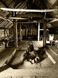 Fireplace inside a Reconstructed Viking House - Trelleborg, Sweden