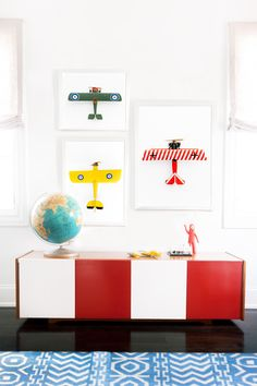 Airplane art by Leslee Mitchell. Perfect for boys bedroom or kids playroom. Matchbox Series. Large scale art.