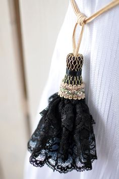 Black lace tassel