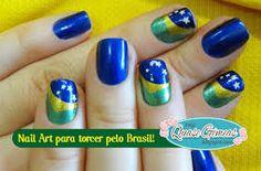 nail art bandeira do brasil - Pesquisa Google