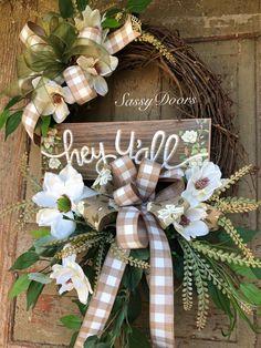 Everyday Wreath-Grapevine Wreath-Magnolia Wreath For Front Door- Wreath With Magnolias, Wreath-Sassy DoorsWreath, Easter Wreaths, Holiday Wreaths, Easter Tree, Diy Wreath, Grapevine Wreath, Tulle Wreath, Burlap Wreaths, Ribbon Wreaths, Wreath Ideas