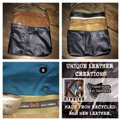 Recycled leather bag & belt. Made in tasmania
