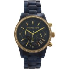 Michael Kors Mk6278 Chronograph Ritz Navy Tortoise-Look Acetate... ($185) ❤ liked on Polyvore featuring men's fashion, men's jewelry, men's watches, black, watches, mens chronograph watches, mens analog watches, men's blue dial watches and michael kors mens watches