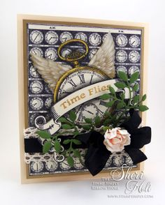 """""""Time Flies"""" pocket watch card with wings using JustRite Time Flies Background cling stamp, coordinating JustRite Timely Banners clear stamps & Spellbinders D-Lites Sprigs by Sheri Holt"""