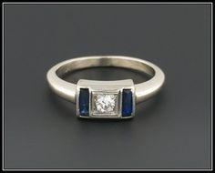 Vintage Diamond & Sapphire Ring   14k White Gold Engagement Ring   Sapphire and Diamond Ring  