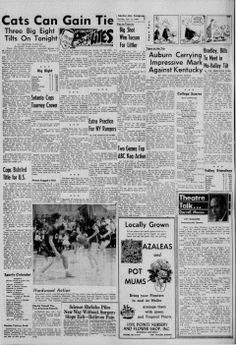 """Página 5 de la edición del lunes 16 de febrero de 1959 del diario """"The Garden City Telegram"""".  En la parte inferior,  se observa  la foto de Nancy Clutter jugando básquet, foto que ella colocó en su """"tablón de anuncios, de corcho, pintado en rosa"""" que """"colgaba sobre el tocador de faldones blancos""""."""