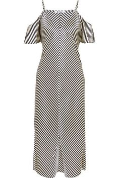 T by Alexander Wang - Cold-shoulder Striped Silk-satin Midi Dress - Navy - US2