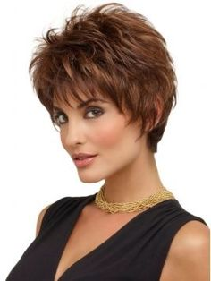 Beautiful Brown Wavy Synthetic Short Wigs from Howigs focus on fashion and concise. Wear Short Wigs to show the world your personality. Short Hair Wigs, Short Wavy Hair, Short Hair With Layers, Short Hair Cuts For Women, Human Hair Wigs, Short Blonde, Short Pixie, Curly Wigs, Short Shag