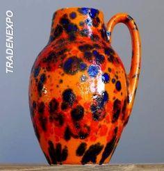 Vintage 60-70's SCHEURICH KERAMIK 414 Orange&Blue Vase Jug W.German Fat Lava Era