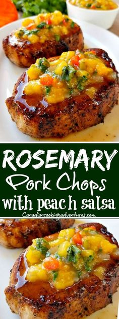 Rosemary Pork Chops with Peach Salsa can be made in under 1 hour or prep the salsa ahead and have this on the table in less than 30 minutes. Rosemary Pork Chops with Peach Salsa - Rosemary Pork Chops with Peach Salsa! Pork Chop Recipes, Grilling Recipes, Meat Recipes, Cooking Recipes, Healthy Grilling, Rosemary Pork Chops, Peach Pork Chops, Pork Chops With Peaches, Healthy Pork Chops