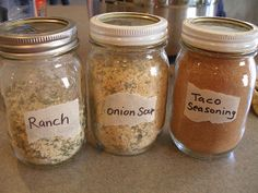 Make your own own Taco Seasoning, Dry Onion Soup Mix, and Dry Ranch Mix. Double each of the recipes and you will end up with a perfect amount for a pint jar.  They are delicious and you can feel so much better using these than store-bought seasoning mixes that are full of MSG and lots of other unnecessary and unhealthy chemicals!