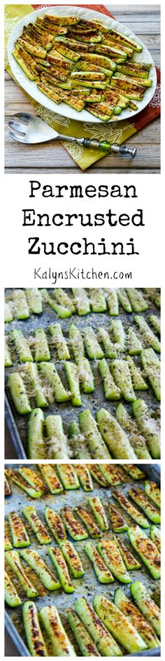 This absolutely delicious Parmesan Encrusted Zucchini is about as easy as it gets! And this delicious way to cook zucchini is low-carb, gluten-free, and South Beach Diet friendly. [from KalynsKitchen.com]