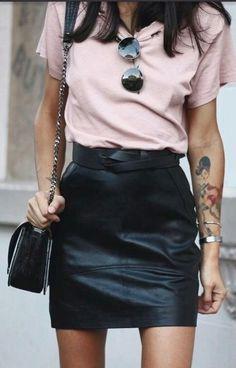 Leather black mini