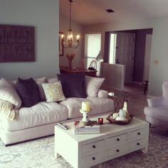 Living room. Sea Salt and Revere Pewter walls. Caitlin rug from Ballard. Stella couch from Z Gallerie.