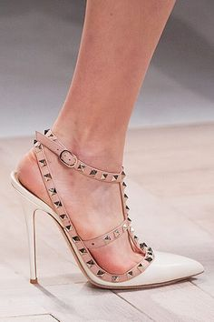 Valentino Ivory Rockstud Pump <3 Shoe is available here: http://www.needcuteshoes.com/products/valentino-rockstud-t-strap-pump-ivory/