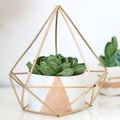 jardim de suculentas em prisma de metal