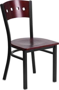 Flash Furniture XU-DG-6Y1B-MAH-MTL-GG HERCULES Series Black Decorative 4 Square Back Metal Restaurant Chair - Mahogany Wood Back & Seat