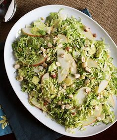 Shaved Brussels Sprouts Salad with Apples, Hazelnuts & Brown Butter Vinaigrette