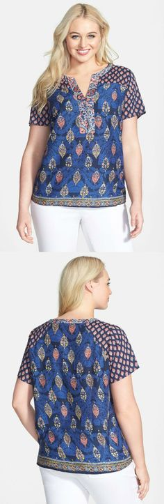 Lucky Brand Print Split Neck Woven Top (Plus Size) Dressy Tops, Casual Tops, Looks Plus Size, Girl Fashion, Womens Fashion, Beautiful Blouses, Blouse Designs, Plus Size Outfits, Lucky Brand