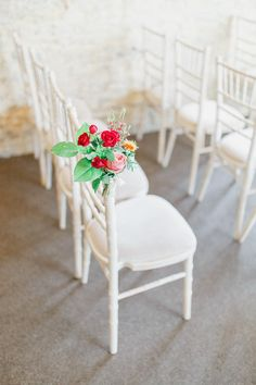 Chair Flowers Pew End Aisle Red Rose Orange Magical Fairy Lit Autumn Barn Wedding http://whitestagweddings.com/