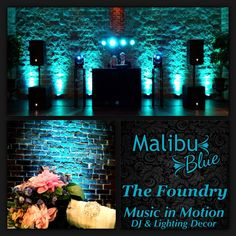 Malibu Blue Lighting Decor at the Foundry in Knoxville, TN. Wedding DJ-Lighting-Uplighting