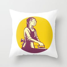 Housewife Ironing Circle Woodcut Throw Pillow. Illustration of a housewife ironing viewed from front set inside circle done in retro woodcut style. #illustration  #HousewifeIroning