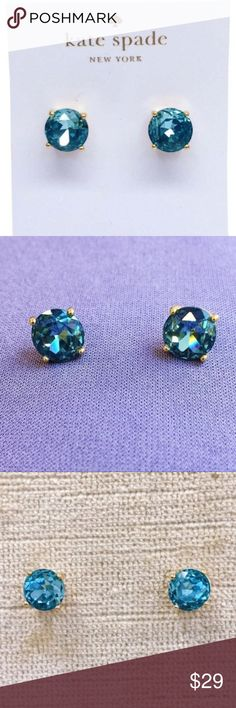"Kate Spade Blue & Gold Gumdrop Stud Earrings Beautiful pair of brand new Kate Spade New York earrings. 2 gorgeous faceted blue stones (approximately 1/2"" diameter) are set in gold plated silver. Post backs. The color is called ""Grace Blue"" and changes from an almost turquoise to darker blue depending on the light. Super sparkly! Comes with Kate Spade Jewelry bag only. kate spade Jewelry Earrings"