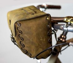 "Bicycle Handlebar Bag - ""The Barrel Bag"" Bicycle Bag - Leather Bicycle Accessories"