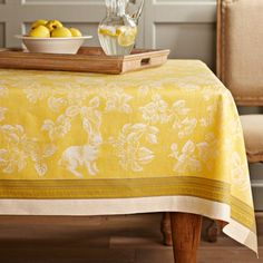Easter Bunny Jacquard Tablecloth, Yellow | Williams-Sonoma