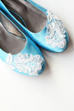 Turquoise Satin Flat Shoes