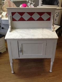 Vintage Wash Stand with Faux Tile