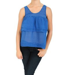 Naked Zebra Tiered and Pleated Tank with Exposed Zipper in Royal Blue Naked Zebra. $16.00