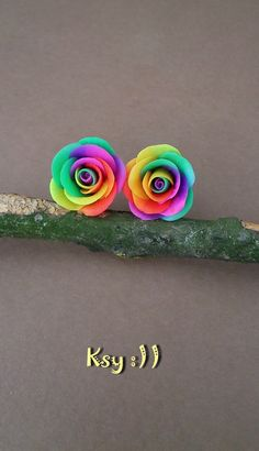 Rainbow Rose.Stud Earrings.Rainbow Earrings.Rainbow Flower.Roses Jewelry.Gift for Her.Colorful Earrings