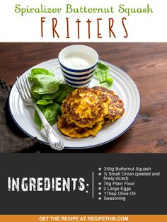 Welcome to my spiralizer butternut squash fritters. I can't remember the exact date when I first tried fritters but it was certainly before my daughter was born… Great Appetizers, Appetizer Recipes, Squash Fritters, Clean Eating, Healthy Eating, Spiralizer Recipes, Butternut Squash, Vegetable Recipes, Healthy Recipes