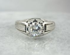 18k White Gold Art Deco Statement Rng, Mens Diamond Wedding Band HL2W4M-N by MSJewelers on Etsy https://www.etsy.com/listing/126227676/18k-white-gold-art-deco-statement-rng